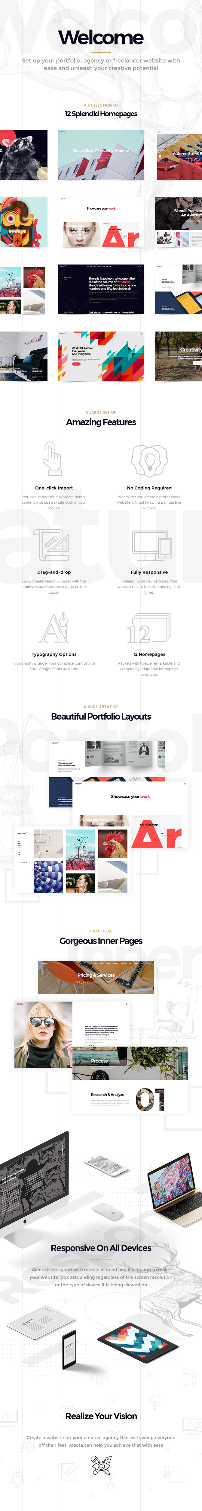 WordPress theme Alecta - A Smart Theme for Creative Agencies and Freelancers (Portfolio)